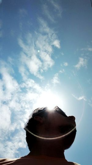 Sky Cloud - Sky No PeopleDay Refreshment Sunlight Cold Temperature Drink Water Outdoors Nature Astronomy Men Sun Nature Clear Sky Blue Selfie ✌ Selfie Portrait