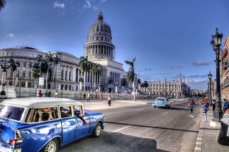 Avenue Capitolio City Center Cuba Havana Paliament Vehicle Vintage Car