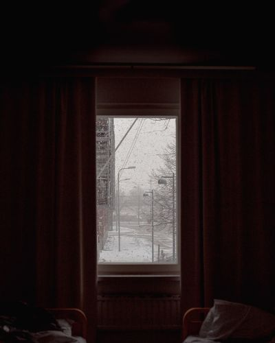 Silent snowfall Cosy Helsinki In Winter City In Winter City Street Snowfall Window View Looking Through Window Snowing Snow Window Indoors  No People Glass - Material Architecture Domestic Room Built Structure Curtain Sunlight Building Nature