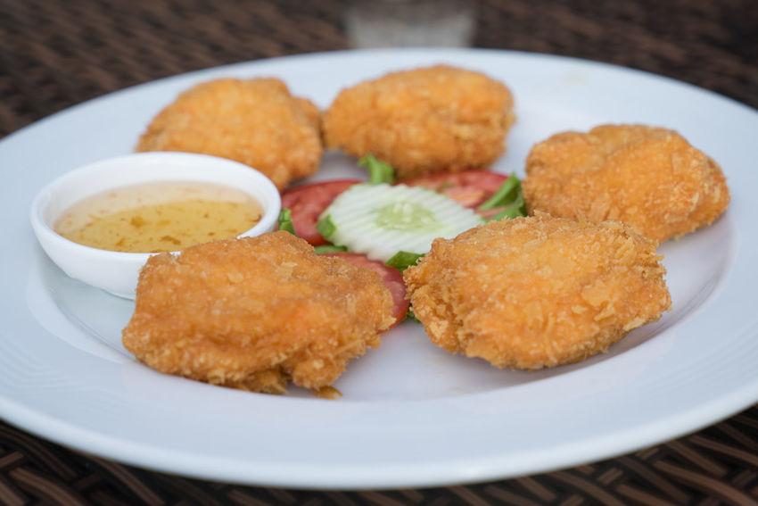 deep-fried shrimp cakes Close-up Deep-fried Shrimp Cakes Delicious Food Food Meal Plate Shrimp Sony A7r Thai Food