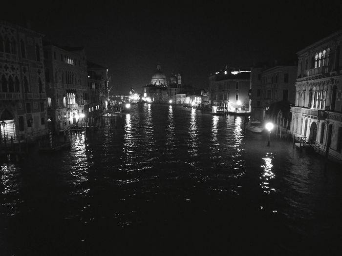 Water Gondola - Traditional Boat Illuminated Architecture Night Blackandwhite Venezia Italia Accademia Bridge No Filter, No Edit, Just Photography