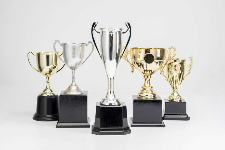 Variety of Trophy Cup on white background Trophy AWARD Indoors  Achievement Studio Shot Still Life White Background Success No People Variation Choice Side By Side Gold Colored Group Of Objects Close-up Metal Arrangement Winning Table Shiny Silver Colored