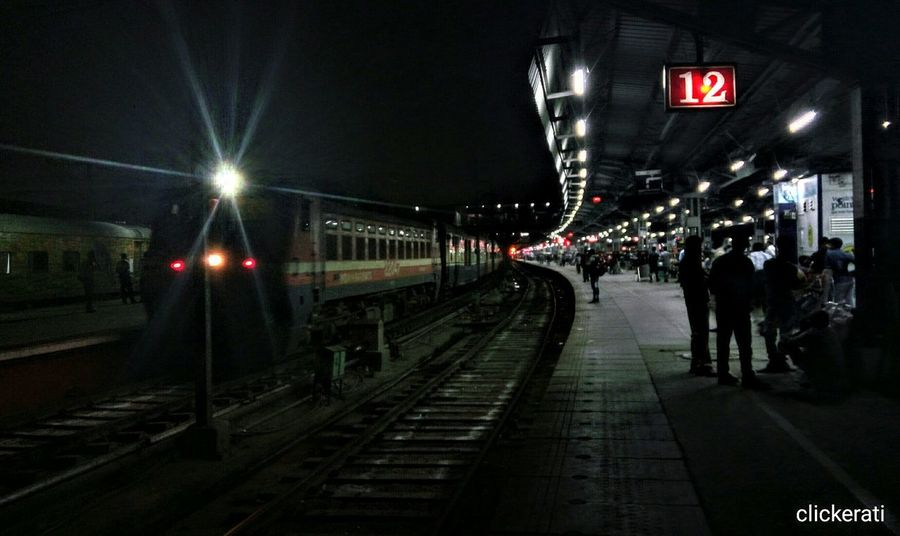 Waiting for someone or trying to escape don't know Night Railroad Station Light Outdoors Transportation Railway Track Black Lowlight White Color