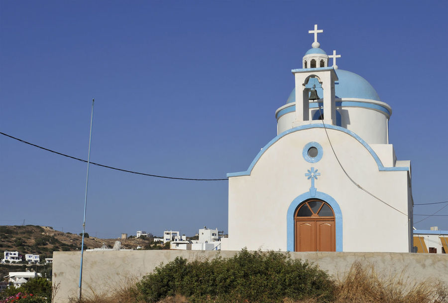 orthodox church in Lipsi Island, Dodecanese, Greece Architecture Architecture Blue Building Exterior Chapel Church Clear Sky Day Dodecanese Greece Greek Lipsi Lipsi Island No People Orthodox Outdoors Place Of Worship Religion Sky Spirituality Traditional Travel Destinations Typical White