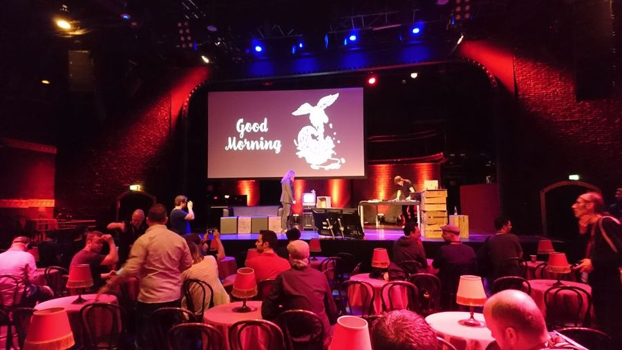 Good morning. · Düsseldorf Germany Beyond Tellerrand Btconf Conference Tech Welcome Good Morning Stage Talks Presentations  People Audience Indoors  Darkness Red