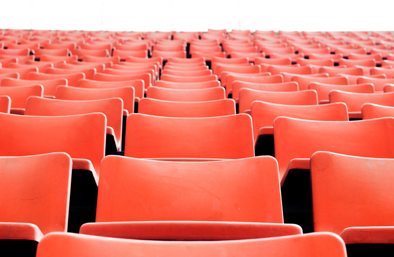 No people sitting in sport stadium seat in coronavirus pandemic and lock down social