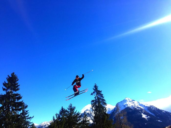 Skiing Blue Sky Trees Jump Freestyle Ski Pinzgau Austria Austrianphotographers Winter