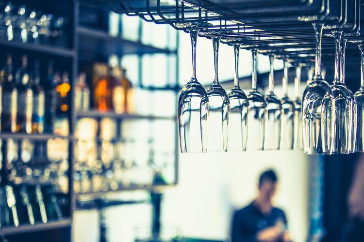 Wineglasses at bar