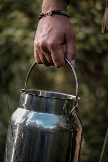 berries in the forest Berry Picking Human Hand Water Jar Drink Close-up Handle Pitcher - Jug Can Drink Can Milk Jug Tin Handlebar