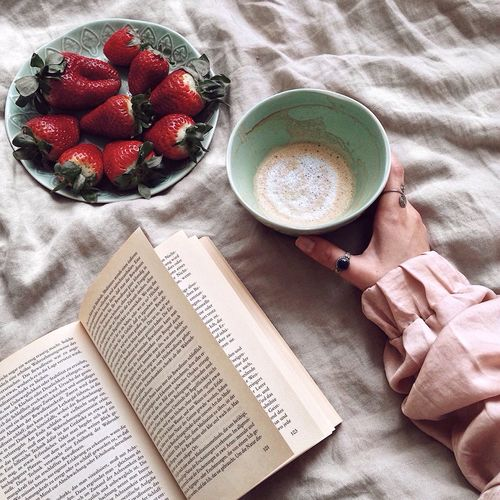 Coffee Coffee Time Coffee Cup Coffee - Drink Food And Drink High Angle View Fruit Freshness Food Holding One Person Human Hand Ready-to-eat Strawberry Strawberries Cappuccino Book Reading Breakfast In Bed Millennial Pink