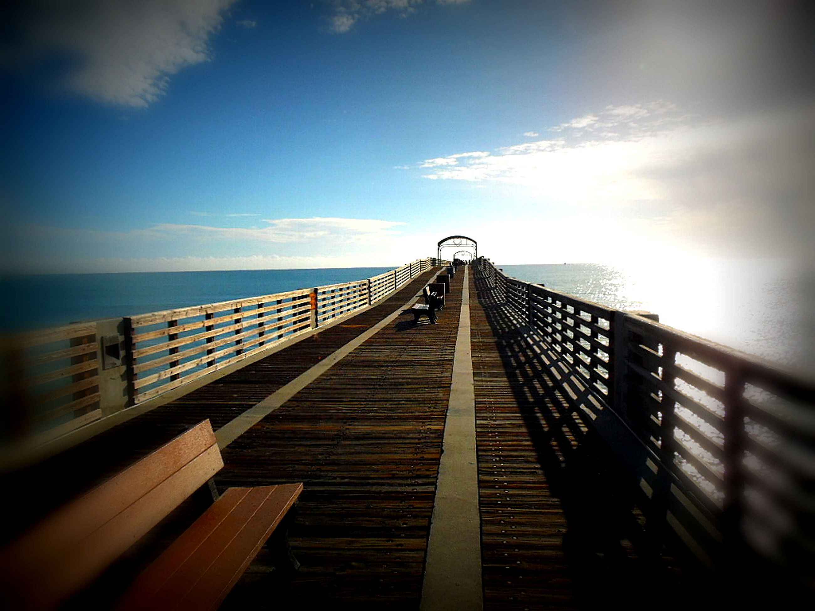 railing, sea, sky, horizon over water, water, the way forward, sunlight, beauty in nature, nature, no people, day, outdoors, tranquil scene, scenics