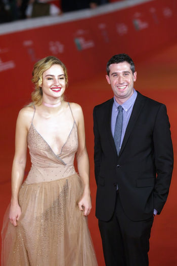 Rome, Italy - October 16, 2016: The director Adam Leon and actress Grace Van Patten on the red carpet of the 11th edition of the Rome Film Festival to present the film 'Tramps' Actress Celebrities Famous People Life Events Red Red Carpet Event Rome Film Festival Two People