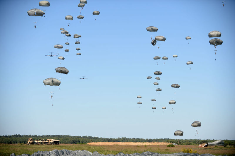 Army Blue Day Flying Grass Mid-air Nature Outdoors Paratroopers Sky