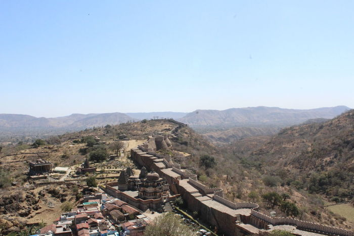 Kumbhalgarh Fort, The Great wall of India Great Wall Of India Kumbhalgarh Fort Architecture Beauty In Nature Clear Sky Day High Angle View Landscape Mountain Mountain Range Nature No People Outdoors Scenics Sky Tranquil Scene Tranquility Travel Destinations Tree