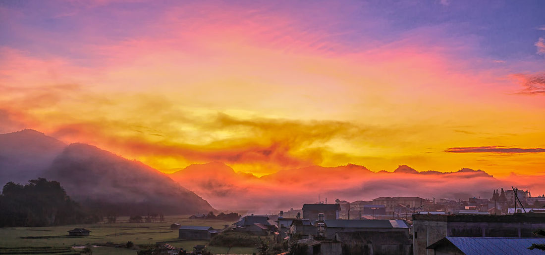 Dawn of Lai Châu Beauty In Nature Built Structure Cityscape Cloud - Sky Day Sunset