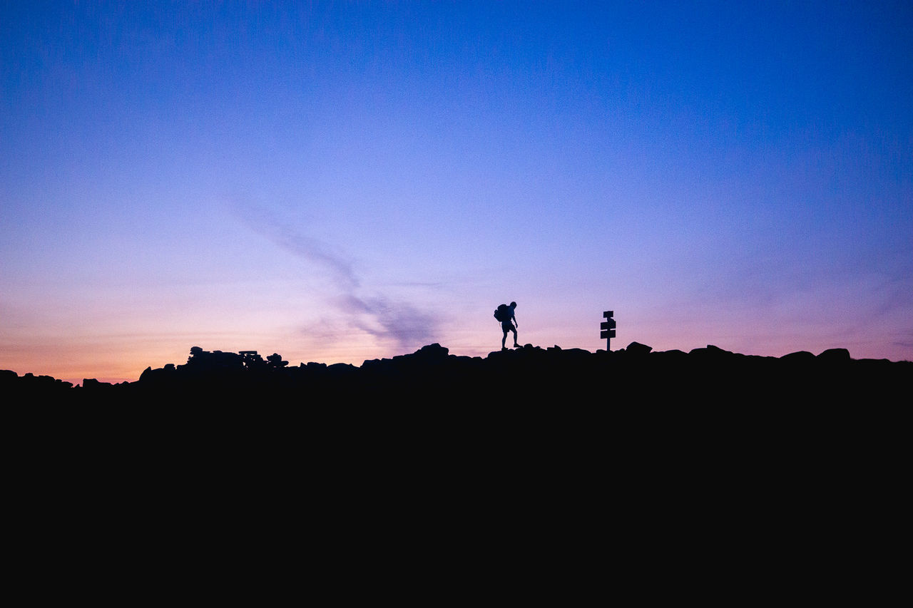 SILHOUETTE MEN STANDING AGAINST SKY DURING SUNSET