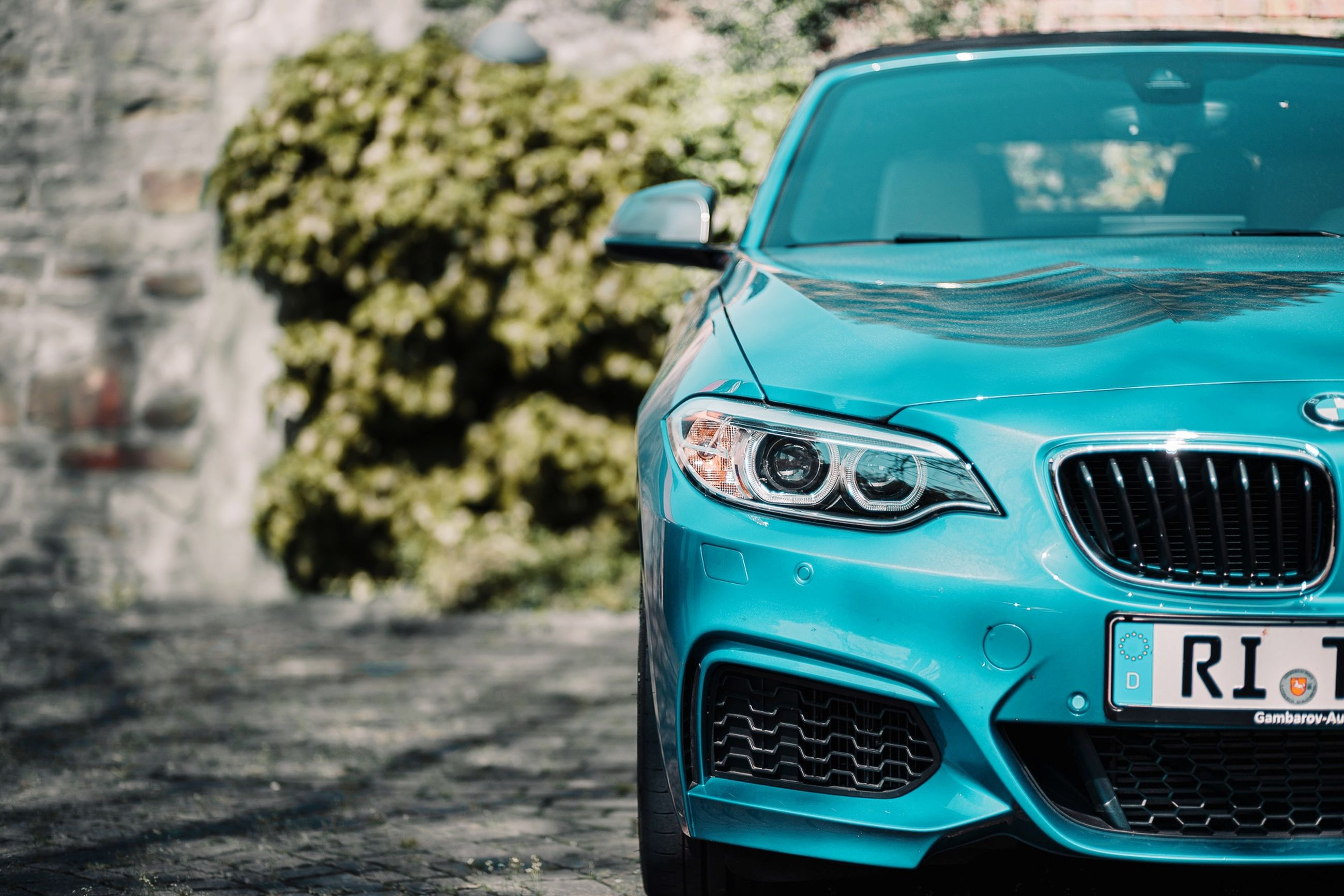 car, mode of transportation, motor vehicle, transportation, land vehicle, day, focus on foreground, retro styled, plant, city, no people, tree, headlight, outdoors, close-up, sunlight, nature, blue, street, turquoise colored