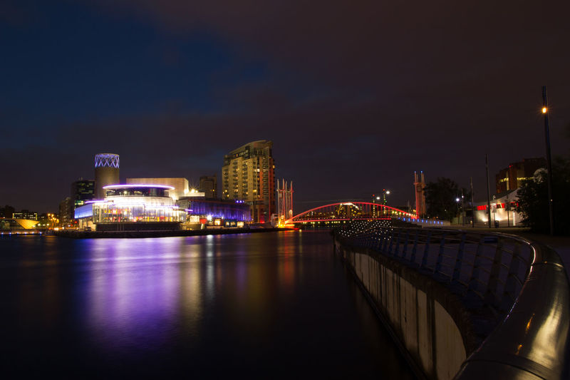 Salford quays and ship canal at night Architecture Bridge - Man Made Structure Building Exterior Built Structure City Cityscape Illuminated Modern Night No People Outdoors Reflection River Sky Skyscraper Travel Destinations Urban Skyline Water Waterfront