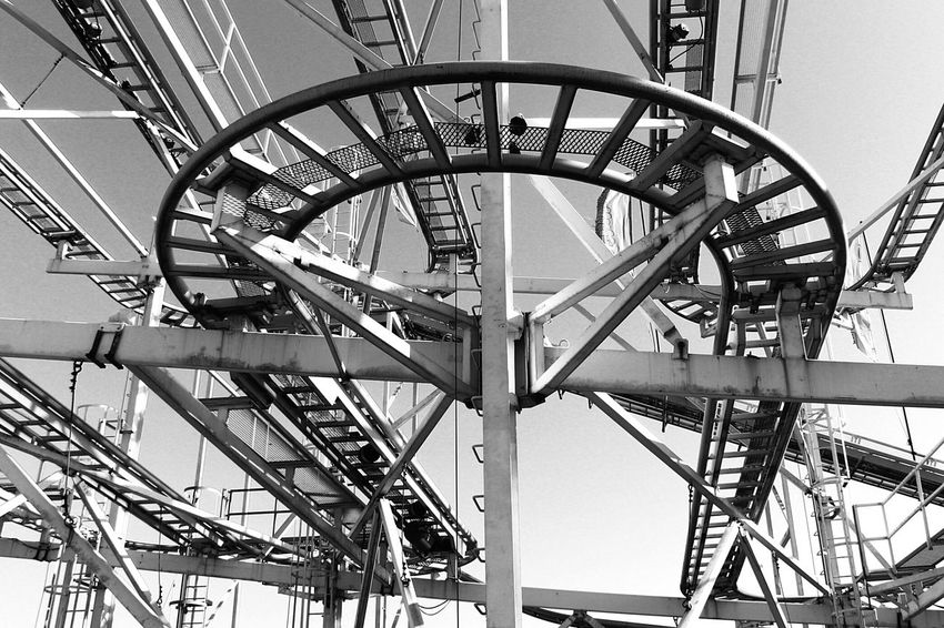 """""""Rail to the sky"""" Shades Of Grey Blackandwhite Black And White EyeEm Best Shots Eye4photography  Railway Atraction Open Edit Light And Shadow Brighton Pier Fine Art Photography"""