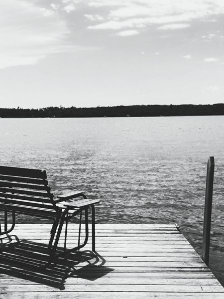 Chair Tranquility Relaxation Water Nature No People Outdoors Scenics Seat Beauty In Nature Sky Lake Lake View Lake Vermilion Dock Dock In The Water North Woods  Northern Minnesota Cabin Cabin In The Woods Blackandwhite