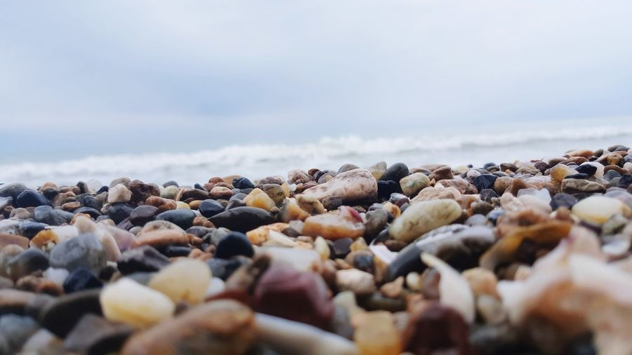Surface level of pebble beach