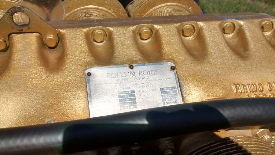 Gold Colored Engine Plane Engine Rols Roys Old Engine Close-up