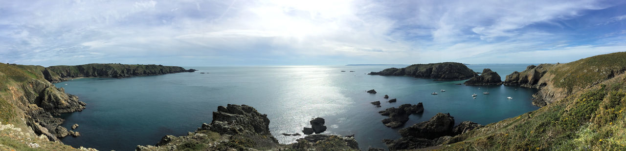 A rather curved view of the west coast of Sark made possible by the extraordinary possibilities that the pano option on an iPhone brings - still, it looks good to me! Brecqhou Channel Islands Clouds And Sky Landscape Panorama Sark Sea Seascape The Great Outdoors - 2016 EyeEm Awards