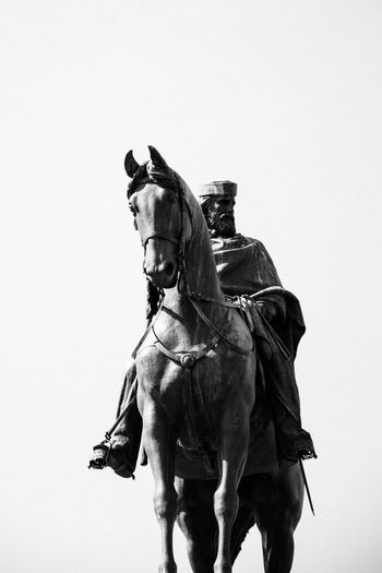 Low angle view of giuseppe garibaldi statue against clear sky