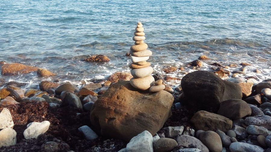 Stack of stones on beach