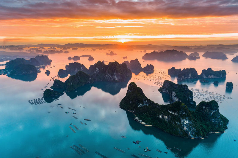 Bai Tu Long Bay Drone  Ha Long Beauty In Nature Cloud - Sky Day Dronephotography Ha Long Bay Island Islandlife Landscape Nature No People Outdoors Reflection Scenics Sea Sky Sunset Tranquil Scene Tranquility Water