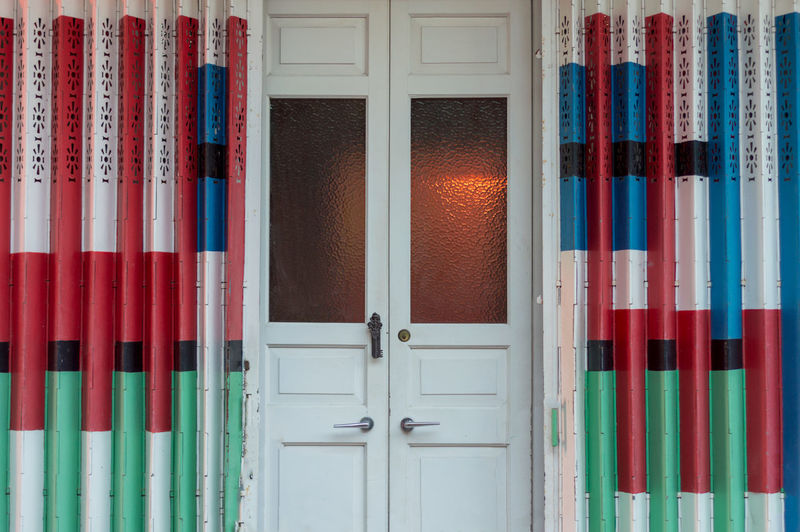 Colours Green Growth Red Symetry Blue Door Door Handle Structure White