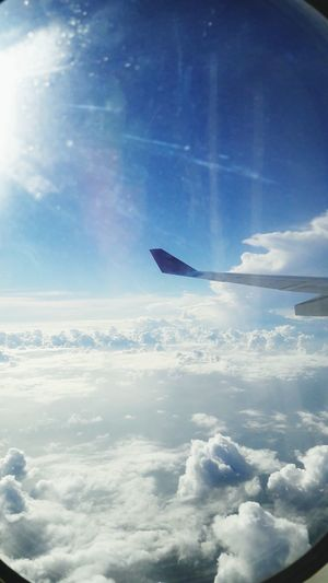 Sky And Clouds From The Plane Window Plane Wing Clouds Helloworld
