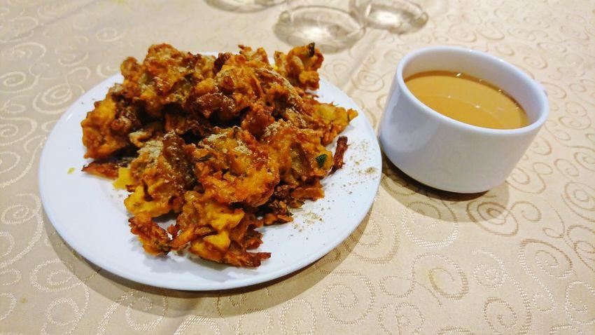 Pakoda and chai Pakoda Tea Indian Snacks Plate High Angle View Close-up Food And Drink Comfort Food Prepared Food
