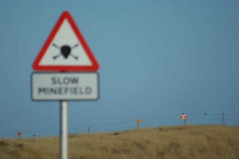 Mine Road Sign Falkland Islands