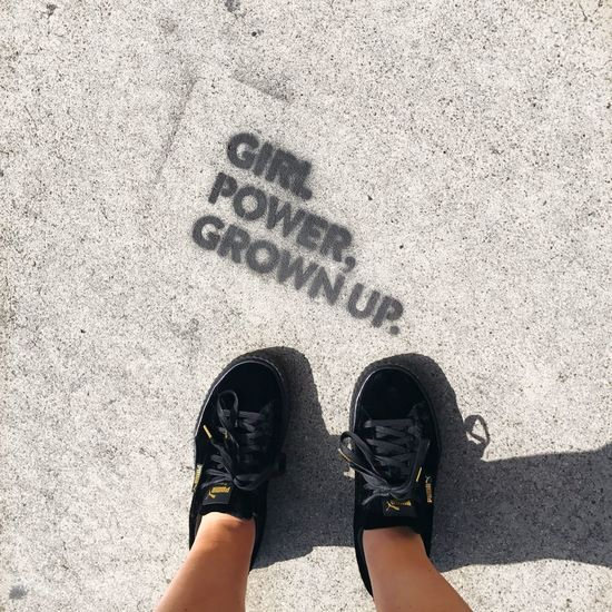 Los Angeles Downtown Los Angeles - Street High Angle View Standing One Person Personal Perspective Directly Above Words Travel Destinations Los Angeles, California Text Communication Quotes Girl Girl Power