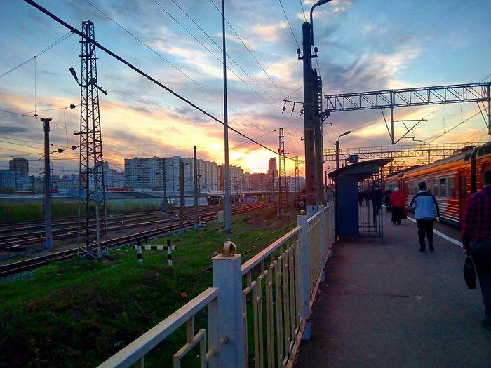 Sunset Sky Railing Cloud - Sky Sunset Sky Railing Cloud - Sky Cloud Fence Sun Outdoors Sunrise - Dawn Footpath Power Line  train