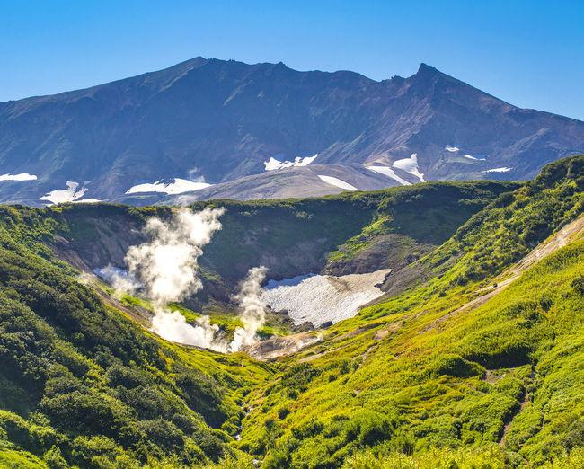 Small valley of geysers on vilyuchinsky volcano on the kamchatka peninsula