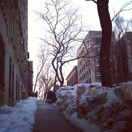One side trash, the other, snow. NYC 's unfortunate current state of affairs... CountDownToSummer WELL underway!!!