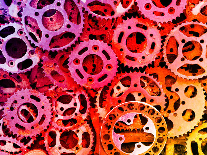 Abundance Backgrounds Biology Blood Close-up Cogwheels Day Gear Indoors  Magnification Metal No People Pattern Pink Color Red Science