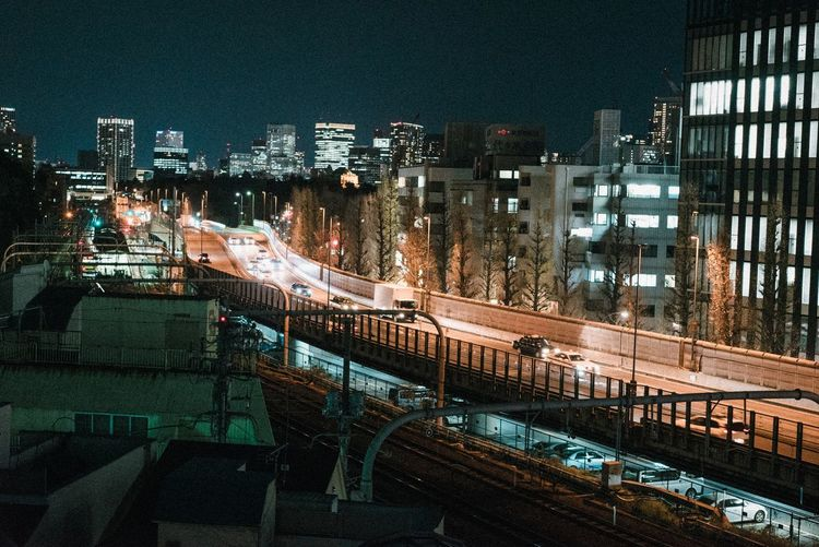 Architecture Building Exterior Built Structure City Night High Angle View Illuminated Transportation City Life Outdoors Cityscape Modern No People Sky