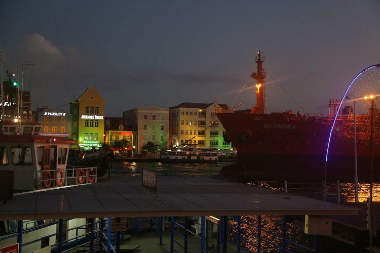 Big Emma Caribbean Sea City Dark Handelskate Harbor Illuminated Night Nightlife Otrabanda Outdoors Ponton Bridge Ship Ship Arriving Too Late Sky Urban Skyline