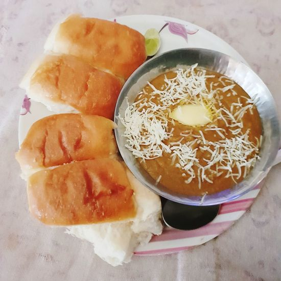 Pav Bhaji Homemade Pav Indian Fast Food Ever Pav Bhaji Homemade Pav Butter India Indian Food Street Food Bowl High Angle View Fruit Close-up Food And Drink Sliced Bread Toasted
