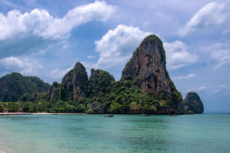 Railey Beach Thailand Bay Beauty In Nature Cloud - Sky Idyllic Land Mountain Rock Rock - Object Sea Sky Stack Rock Tranquil Scene Water