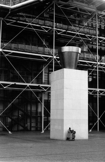 Waiting for the Pompidou to open. 35mm Film 35mmfilmphotography Black & White Architecture Black And White Photography Blackandwhite Blackandwhite Photography Modern Art Pompidou Pompidou Center Pompidoucentre Sculpture