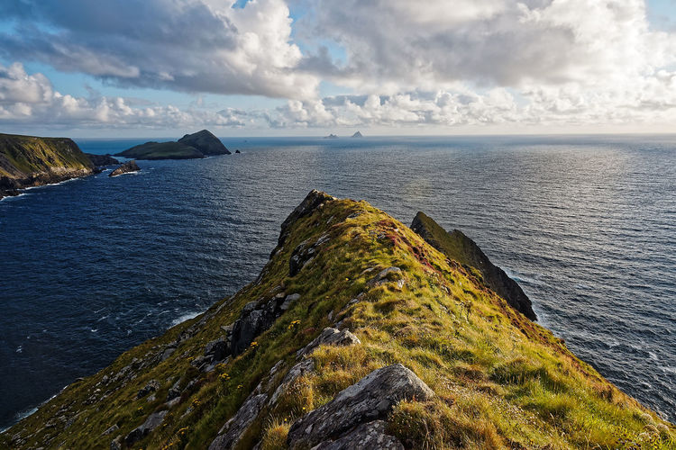 Kerry Ireland Wild Atlantic Way Beauty In Nature Cliff Cloud - Sky Day Grass Horizon Over Water Nature No People Outdoors Ring Of Kerry Rock - Object Scenics Sea Skellig Islands Sky Tranquil Scene Tranquility Water