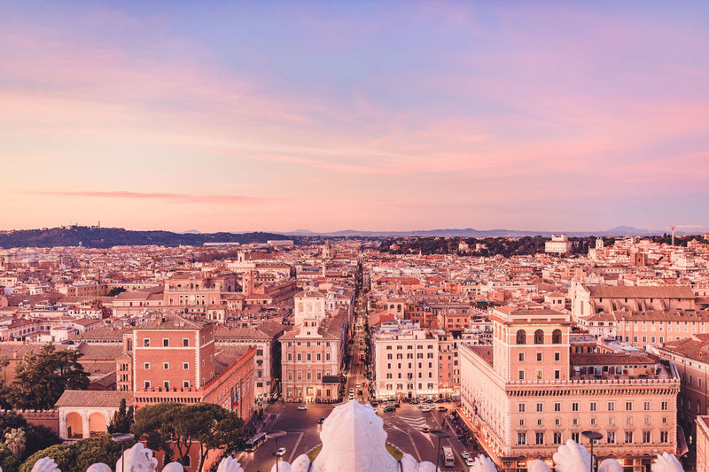 Classical Rome cityscape during golden hour Architecture Building Exterior Built Structure City Cityscape Sky Nature Building Outdoors Classical Rome Cityscape Golden Hour Blue Hour Sunset Travel Destinations Rome Rome Italy Italian Tourism