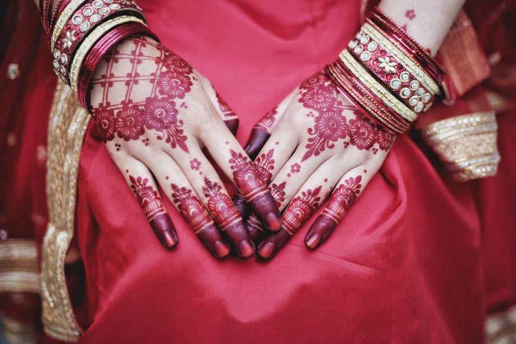 Woman wearing henna