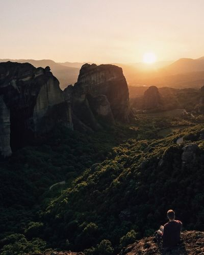 Sunset in Meteora Greece Rocks Nature