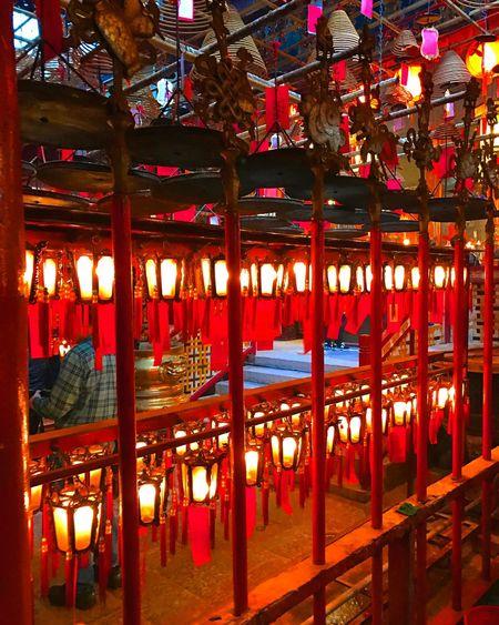 Man Mo Temple Illuminated Built Structure Indoors  Architecture No People Travel Destinations Hanging Night Lantern City Hongkong Photos HongKong