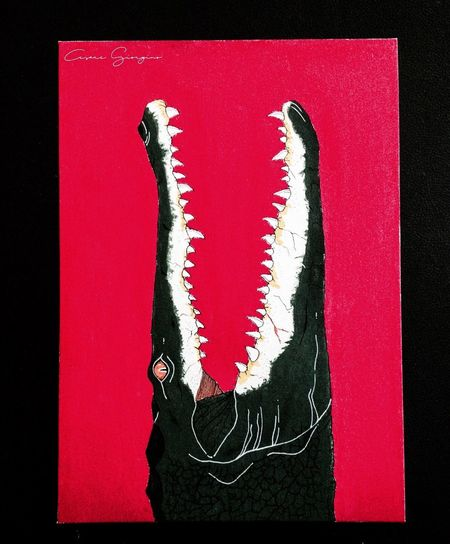 Alligator Blood 🐊 Draw Art Animal ArtWork Red Canvas Wild MyArt Tempera Animal Themes Vision Drawing - Art Product Drawing Nature One Animal Alligator Cocodrile Crocodile Followme Like4like